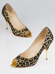 Christian Louboutin Gold/Brown Leopard Print Fabric Yoyospina 100 Metal Pumps Size 6.5/37
