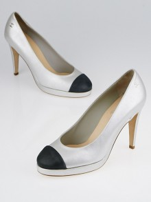 Chanel Silver/Black Metallic Leather Cap Toe Platform Pumps Size 7.5/38