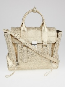 3.1 Phillip Lim Nude Platinum Shark Embossed Leather Medium Pashli Satchel Bag
