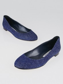 Manolo Blahnik Blue Denim Flats Size 6.5/37