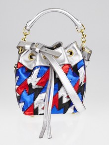 Yves Saint Laurent Silver/Red/Blue Metallic Leather Small Emmanuelle Bucket Bag