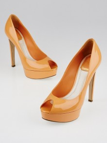 Christian Dior Orange Patent Leather Platform Peep-Toe Miss Dior Pumps Size 6.5/37