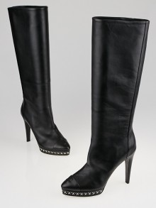 Chanel Black Lambskin Leather CC Cap Toe Knee-High Boots Size 8/38.5