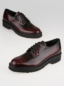 Prada Burgundy Leather Oxford Flats Size 7/37.5