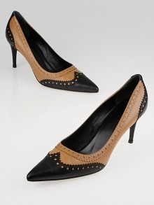 Gucci Beige/Black Leather Brogue Pointed Toe Pumps Size 6.5/37