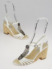Chanel White Patent Leather Coins Wedge Sandals Size 8/38.5