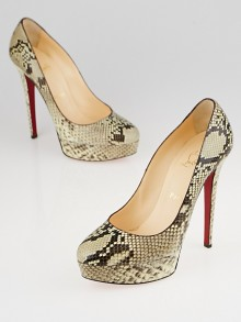 Christian Louboutin Beige/Brown Python Bianca 140 Pumps Size 8/38.5