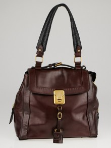 Chloe Burgundy Brushed Leather Darla Shoulder Bag
