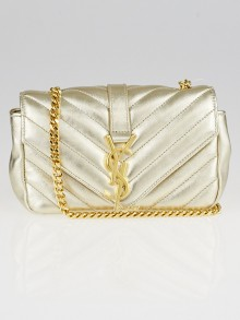 Yves Saint Laurent Gold Chevron Quilted Leather Classic Baby Monogram Chain Bag