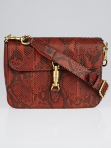 Gucci Red Python Soft Jackie Flap Shoulder Bag
