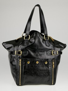 Yves Saint Laurent Black Patent Leather Large Downtown Tote Bag
