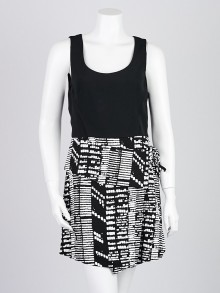 Proenza Schouler Black and White Print Viscose Sleeveless Dress Size 6
