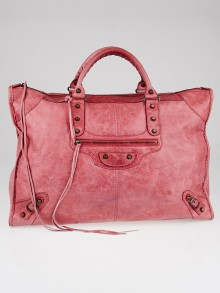 Balenciaga Rose Chevre Leather Weekender Bag