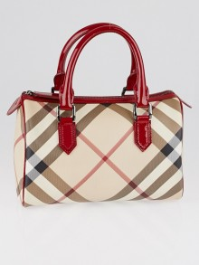 Burberry Red Patent Leather Supernova Check Coated Canvas Bowling Bag