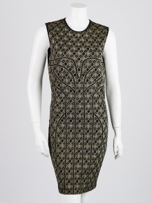 Alexander McQueen Gold/Black Viscose Blend Knit Sleeveless Dress Size XL