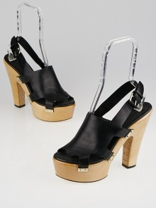 Givenchy Black Leather Platform Clogs Size 10.5/41