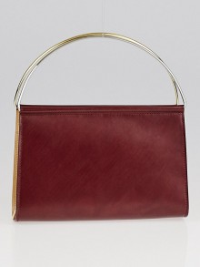 Cartier Burgundy Smooth Calfskin Leather Trinity Mini Clutch Bag