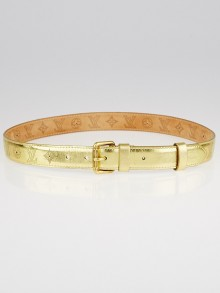 Louis Vuitton Goldtone Leather Perforation Belt Size 85/34