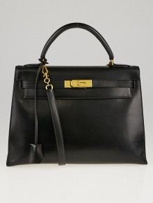 Hermes 32cm Black Box Leather Gold Plated Kelly Sellier Bag