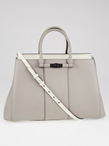 Gucci Grey Leather Lady Bamboo Top Handle Bag