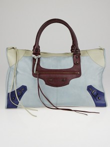 Balenciaga Sky Blue Tri-Color Lambskin Leather Work Bag