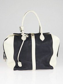 Louis Vuittion Limited Edition White/Navy Blue Leather Speedy North-South Bag