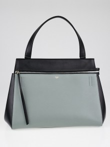 Celine Grey/Black Smooth Leather Large Edge Shoulder Bag
