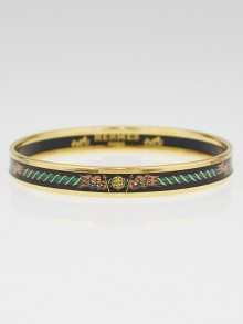 Hermes Black Flag Motif Printed Enamel Gold Plated Narrow Bangle Bracelet