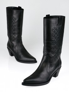 Chanel Black Leather CC Cowboy Boots Size 10/40.5
