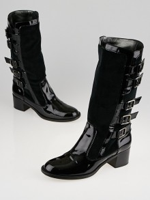 Chanel Black Patent Leather and Velvet Buckle Boots Size 10.5/41