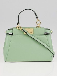 Fendi Green Nappa Leather Micro Peekaboo Bag 8M0355