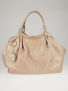 Gucci Metallic Pink Pebbled Leather Large Sukey Tote Bag