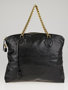 Louis Vuitton Limited Edition Black Boudoir Leather Lockit Chain Bag
