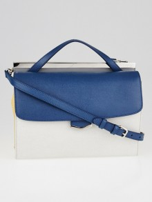 Fendi Cobalt/Milk Saffiano Leather Demi Jour Shoulder Bag 8BT222