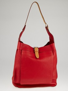 Hermes Rouge Garance Clemence Leather Marwari GM Bag