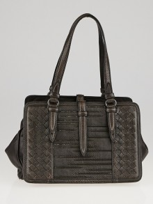 Bottega Veneta Brown Intrecciato Woven Snakeskin Frame Top Bag