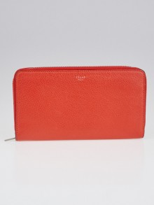 Celine Coral Leather Large Zipped Multifunction Wallet