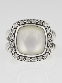 David Yurman 11mm Moonstone and Diamond Albion Ring Size 5