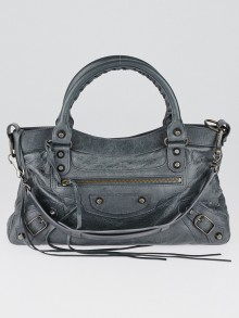 Balenciaga Anthracite Lambskin Leather Motorcycle First Bag
