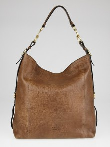 Gucci Brown Pebbled Leather Harness Hobo Bag