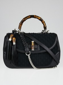 Gucci Black GG Embossed Neoprene and Leather Bamboo Top Handle Bag