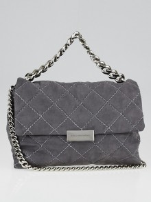 Stella McCartney Grey Shaggy Deer Quilted Faux-Leather Becks Small Shoulder Bag
