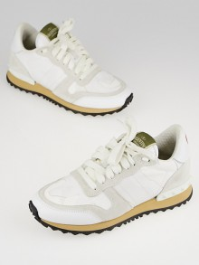 Valentino White Leather Rockrunner Heart Sneakers Size 4.5/35