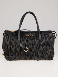 Miu Miu Black Matelasse Leather Zip Tote Bag 5BB016
