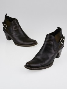 Prada Dark Brown Leather Buckle Ankle Boots Size 5/35.5
