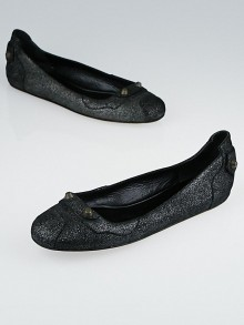 Balenciaga Black Crackled Leather Arena Studded Ballet Flats Size 9.5/40