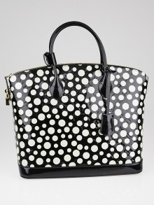 Louis Vuitton Limited Edition Yayoi Kusama Black Monogram Vernis Dots Lockit MM Bag