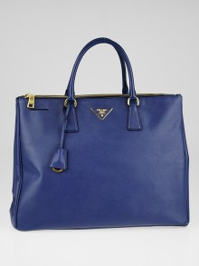 Prada Bluette Saffiano Lux Leather Double Zip Executive Tote Bag BN1802