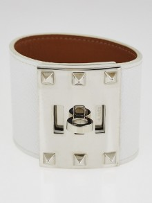 Hermes White Epsom Leather Palladium Plated Kelly Dog Extreme Bracelet Size S
