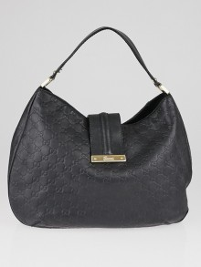 Gucci Black Guccissima Leather New Web Hobo Bag